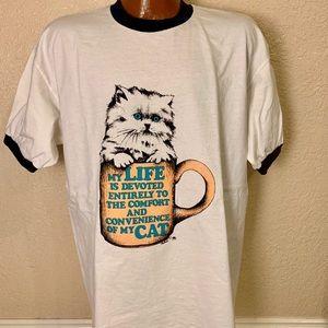 Vintage 80s Cat Lover Single Stitch T-shirt. XL
